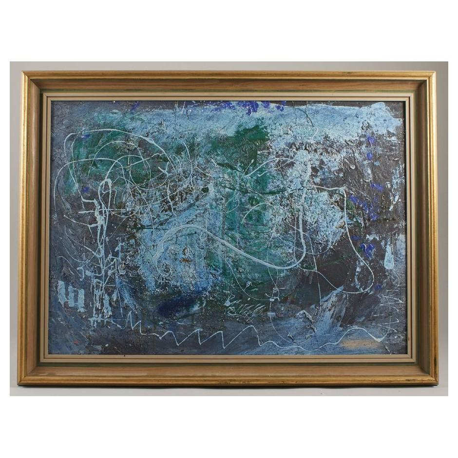 Mėlynas aliejinis paveikslas